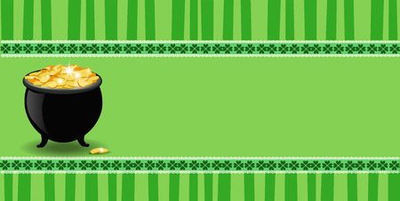 Saint Patricks Day banner with clover lace, pot with leprechauns gold  on green striped background with elegant shamrock leaves border. Vector festive template for card, poster with space for text. Illustration