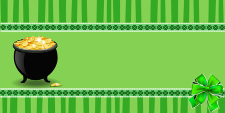 Saint Patricks Day banner with clover bow, cauldron full of leprechauns gold  on green striped background with elegant shamrock leaves border. Vector festive template for card, poster with copy space