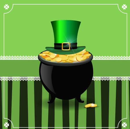 Saint Patricks Day card with shamrocks lace, cauldron with golden coins and leprechaun top hat cylinder on green background with retro stripes and cute elegant border with clover. Vector illustration.