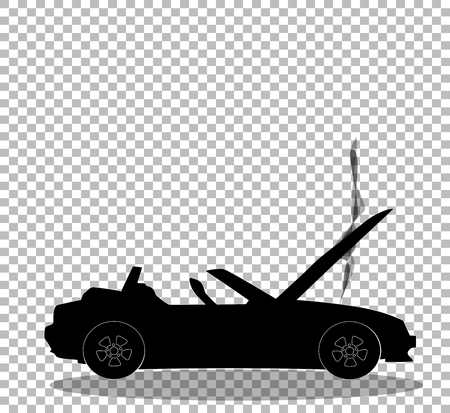 Black silhouette of broken cabriolet sport cartoon car with opened hood covered with smoke. Sports car crash, accident. Vector illustration, sign, symbol, clip art. Isolated on transparent background.
