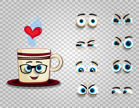 Emoji cup in glasses with eyes kit for creating comics character. Adorable doodle steaming mug with cute cartoon smiling face. Vector illustration, icon, clip art isolated on transparent background.