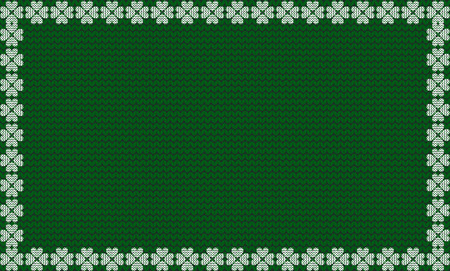 Emerald green fabric knitted background framed with knit white four leaves clover shamrocks pattern. Vector illustration, template for Saint Patricks day, poster, border, border with space for text. Illustration