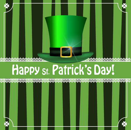 Saint Patricks Day greeting card with festive symbol - leprechaun green hat framed with elegant shamrocks clover border on green striped background. Vector template for menu, invitation, flyer, poster
