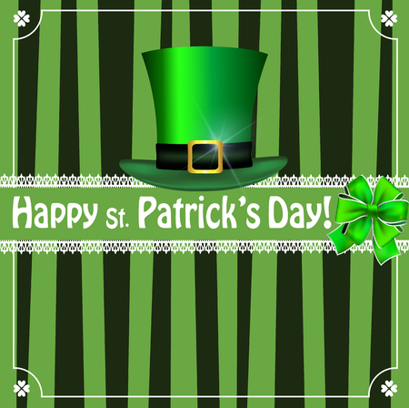 Saint Patricks Day greeting card with festive symbol - leprechauns green hat, bow, framed with elegant shamrocks clover border on black and green striped background. Vector template, menu, invitation Illustration