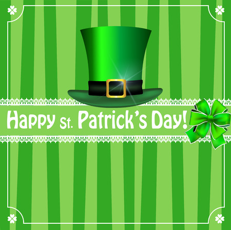 Saint Patricks Day greeting card with festive symbol - leprechauns green hat, bow, framed with elegant clover border on  green striped background. Vector template, invitation, flyer with copy space.