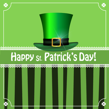 Saint Patricks Day greeting card with festive symbol - leprechaun hat and  elegant shamrocks clover border on green striped background. Vector template, menu, invitation, flyer, poster, copy space.
