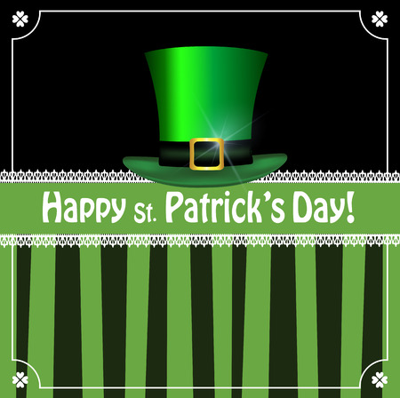 Saint Patricks Day greeting card with festive symbol - leprechauns green hat, framed with elegant shamrocks clover border on black and green striped background. Vector template, menu, invitation.