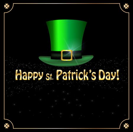 Saint Patricks Day greeting card with festive symbol - leprechauns green hat framed with elegant golden shamrocks clover border on black sparkling glitter background. Vector template, menu, invitation