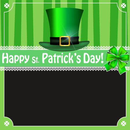 Happy Saint Patricks Day vintage greeting card with shamrocks lace, festive bow,  leprechauns top hat and empty black copy space for text on green background with stripes. Vector illustration