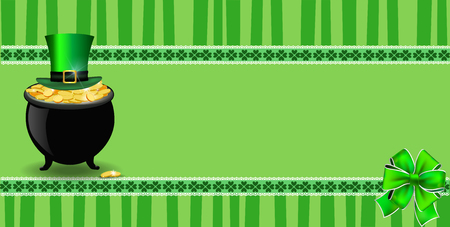 Saint Patricks Day banner with clover bow, pot full of leprechauns gold, hat on green striped background with elegant shamrock leaves border. Vector festive template for card, poster with copy space Illustration
