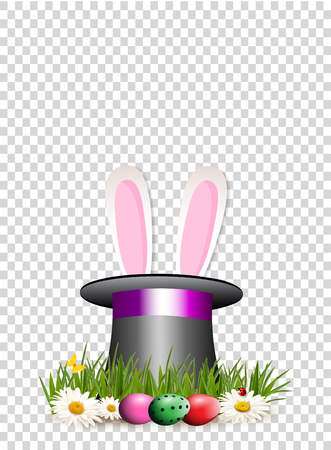 Happy Easter clip art for greeting card  with cartoon pink bunny or rabbit ears sticking out of top hat cylinder on grass with chamomile flowers, dyed eggs isolated on transparent background. Vector.