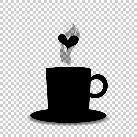 Black silhouette of tea or coffee cup with steam and heart isolated on transparent  background. Vector illustration, icon, logo, sign, symbol of mug for card, invitation, menu, restaurant design.  Archivio Fotografico