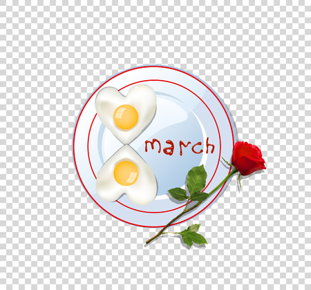 Fried heart shaped eggs and rose on a white plate and a checked background Vettoriali