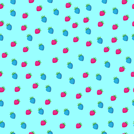 Strawberry seamless pattern on light blue background. Vector illustration.