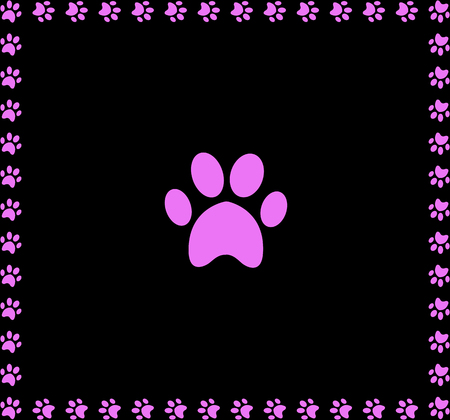 Pink animal pawprint icon framed with paw prints square border isolated on black background. Illustration