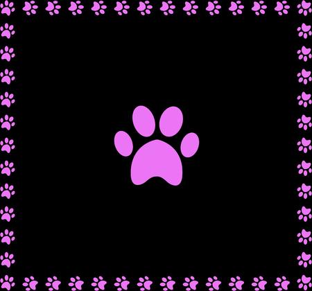 Roze dier pawprint pictogram omlijst met pootafdrukken vierkante rand geïsoleerd op zwarte achtergrond. Stockfoto - 97194731