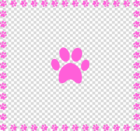 Rose animal s pawprint icon framed with paw prints square border framework isolated on transparent background.