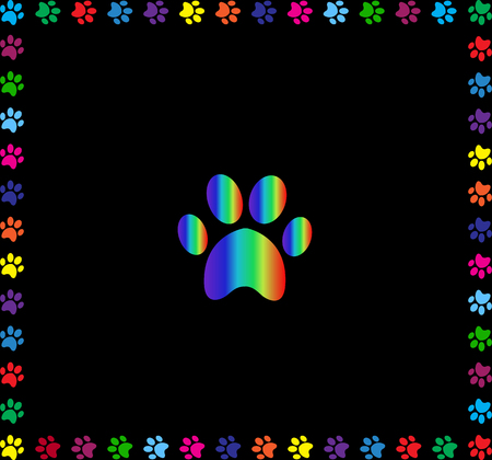 Rainbow animal pawprint symbol framed with multicolored paw prints track square border isolated on black background.