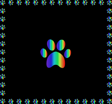 Rainbow animal s pawprint sign framed with multicolored paw prints track square border frame work isolated on black background. Vector illustration, icon, symbol, logo, clip art, banner, poster. Illusztráció
