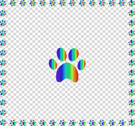 Rainbow animal s pawprint sign bordered with multicolored paw prints track square frame work isolated on transparent background. Vector illustration, icon, symbol, logo, clip art, banner, poster.