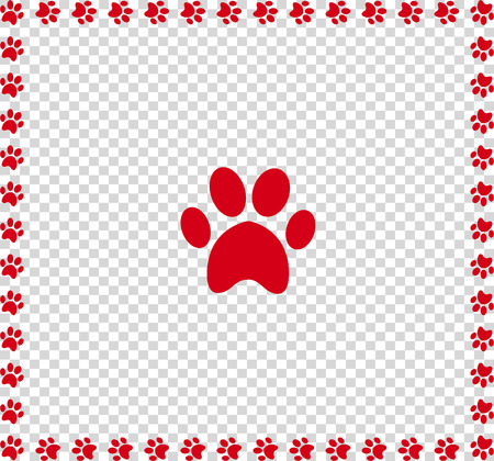 Red animals pawprint icon framed with paw prints square border isolated on transparent  background. Vector illustration, sign, symbol, icon, clip art, banner, poster.