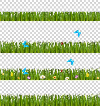 Green realistic grass borders set with colorful flowers and butterflies, isolated on transparent background. Spring or summer vector kit, template, clip art, frame, elements for creating design.