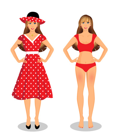 Vector people set collection with beautiful young woman cartoon character in different wardrobe clothes girl in red underwear bikini and girl wearing red dress and hat isolated on white background.