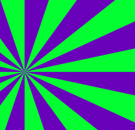 Vibrant abstract green and violet background with sunburst pattern. Radial vibrant colorful rays for banner, card, poster design. Vector illustration, template. Illustration
