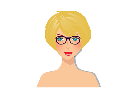 Beautiful blonde girl with blue eyes and glasses with magnificent bob hairstyle yellow color hair portrait isolated on white background