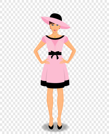 Vector beautiful young woman cartoon character wearing pink dress and hat isolated on transparent background. Fashioned retro styled full-length elegant girl in rose clothes.