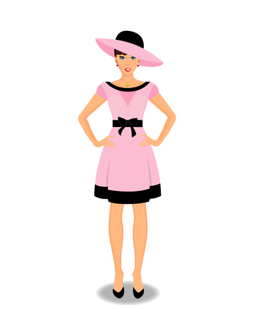 Vector beautiful young woman cartoon character wearing pink dress and hat isolated on white background. Fashioned full-length elegant girl in rose clothes.