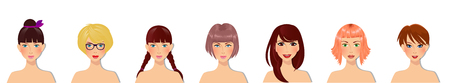 Vector set of beautiful young girls with various hair style, eyes color and facial types. Cute cartoon girls characters portrait for avatar isolated on transparent background.
