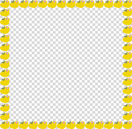 Golden yellow apples square photo frame or border isolated on transparent background vector template, poster, banner, framework with empty copy space for text.