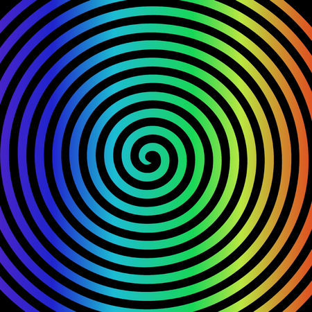 Black rainbow round abstract vortex hypnotic spiral wallpaper. Vector illustration optical illusion Çizim