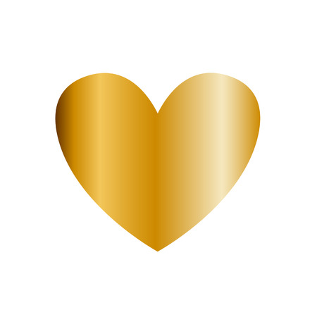 Golden heart vector icon, clip art isolated on white background. Gold heart sign, symbol of love. Illustration