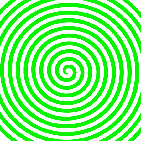 White and green round abstract vortex hypnotic spiral wallpaper vector illustration optical illusion spiral anaglyph opt art illustration. Volute, spiral, concentric lines, circular, rotating background.