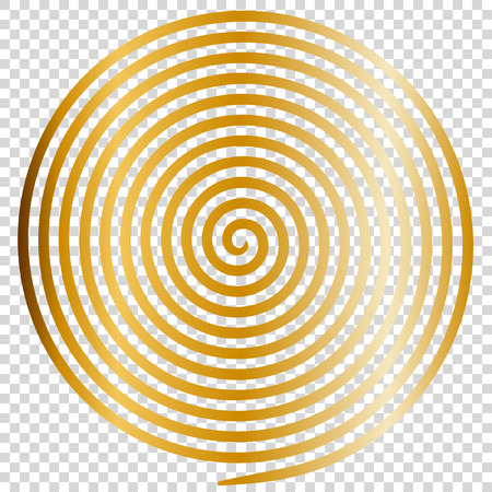 Gold round abstract vortex hypnotic spiral vector illustration optical illusion helix anaglyph opt art illustration. Volute, maze, concentric lines, circular, rotating clip art isolated transparent background.