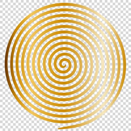 Oro redondo abstracto vórtice espiral hipnótica ilustración vectorial ilusión óptica hélice anaglifo optar ilustración de arte. Voluta, laberinto, líneas concéntricas, circular, giratorio clip art aislado fondo transparente. Ilustración de vector