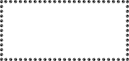 Der Rechteckrahmen, der von der schwarzen Tiertatze gemacht wird, druckt auf weißer Hintergrundvektorillustration, Schablone, Grenze, Rahmen, Fotorahmen, Plakat, Fahne, Katzen- oder Hundetatze, die Spur geht.