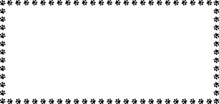 Marco rectangular hecho de huellas de animales de color negro sobre fondo blanco ilustración vectorial, plantilla, borde, marco, marco de fotos, póster, pancarta, gatos o perros.