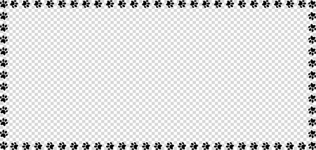 Rectangle frame made of black animal paw prints on transparent background vector illustration, template, border, framework, photo frame, poster, banner, cats or dogs paw walking track.