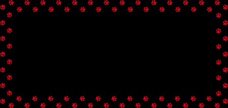Rectangle frame made of red animal paw prints on black background. Illustration