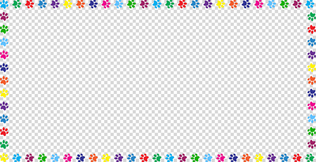 Rectangle frame made of multicolored rainbow animal paw prints on transparent background. Vector illustration, template, border, framework, photo frame, poster, banner, cats or dogs paw walking track. Vettoriali