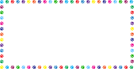 Rectangle frame made of multicolored rainbow animal paw prints on white background. Vector illustration, template, border, framework, photo frame, poster, banner, cats or dogs paw walking track.