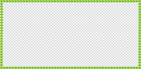 Green apple rectangle frame border isolated on transparent background.
