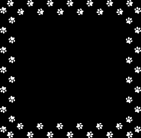 Square frame made of white animal paw prints on black background. Illustration
