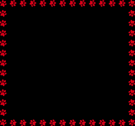 Square frame made of red animal paw prints on black background. Illustration