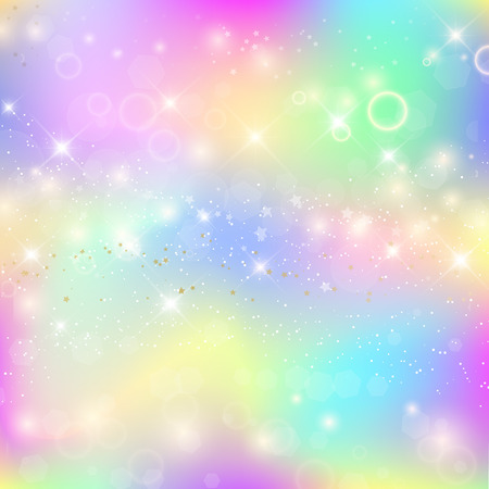 Fairy baby girl background with rainbow mesh. Cute universe banner in princess colors, fantasy gradient backdrop with hologram. Holographic fairy template with magic sparkles, stars and blurs. Illustration