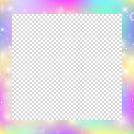 Magic frame with rainbow mesh and space for text. Cute universe banner in princess colors, fantasy gradient backdrop with hologram. Holographic magic background with fairy sparkles, stars and blurs.