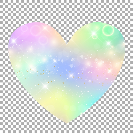 Heart with rainbow mesh heart icon, universe clip art in princess colors. Fantasy gradient icon with hologram. Holographic unicorn heart label with magic sparkles, stars and blurs.